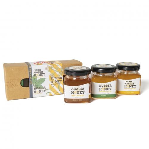 Hộp 3 hũ mật ong hoa vải, lá cao su, lá keo